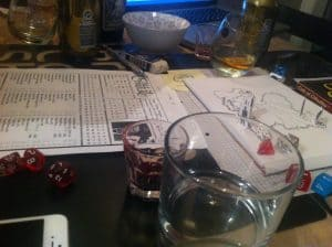 Call of Cthulhu character sheets on table