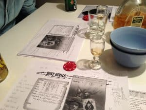 Dust Devils character sheets and drinks