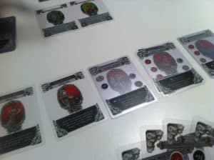 Gloom cards on table