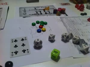 The Savage World of Solomon Kane M&M pawns and dice