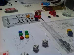 The Savage World of Solomon Kane M&M tokens and dice
