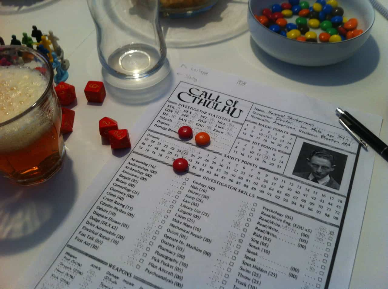 Call of Cthulhu character sheet and M&Ms