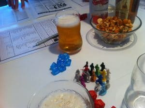 Call of Cthulhu plastic pawns and beer