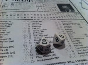 Call of Cthulhu white dice